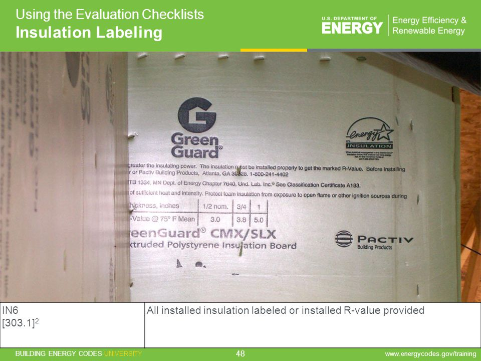 Insulation Labeling Using the Evaluation Checklists IN6 [303.1]2